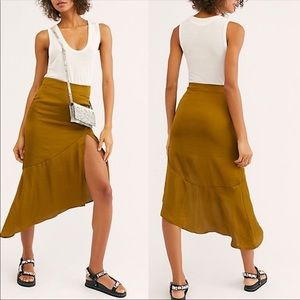 NWT Free People Lola slit skirt in Moss